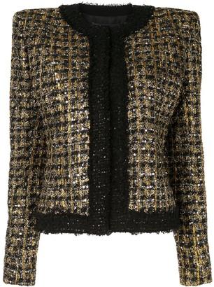 Balmain Sequined Cropped Tweed Jacket