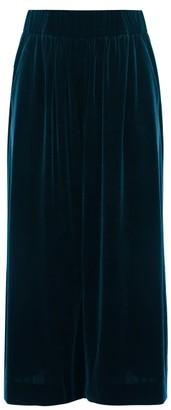 Alexandre Vauthier Velvet Cropped Wide Leg Trousers - Womens - Blue