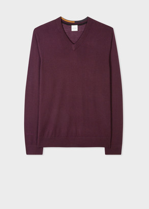 Paul Smith Men's Burgundy Merino Wool V-Neck Sweater