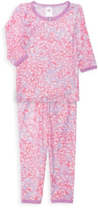 Esme Little Girl's & Girl's Shimmer Cheetah 2-Piece Pajamas