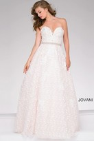 Jovani Lace over Pink Strapless Prom Ballgown 48413
