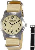 Stuhrling Original Men's 409.SET.01 Aviator Tuskegee Contrail Swiss Quartz Beige and Black Canvas Strap Watch Set