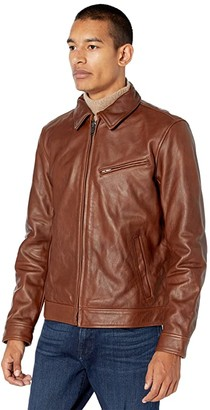 Lucky Brand Leather Aviator Jacket (Chocolate) Men's Clothing