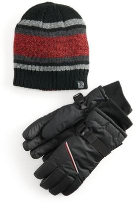 ZeroXposur Boys 8-20 Reversible Beanie Hat & Gloves Set