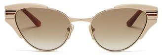 Gucci Web-stripe Cat-eye Metal Sunglasses - Womens - Ivory Multi