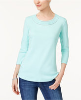 Karen Scott Cotton Eyelet-Trim T-Shirt, Created for Macy's