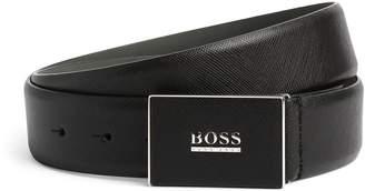 BOSS Leather Logo Buckle Belt