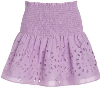 Eyelet Smocked Waist Miniskirt