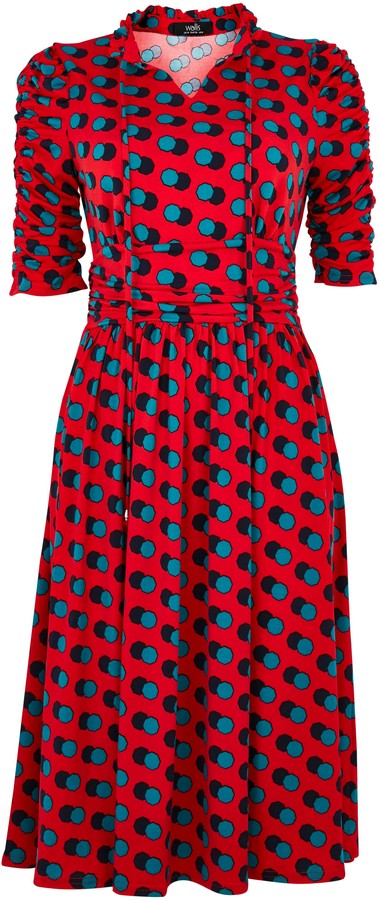 Wallis **Jolie Moi Red Polka Dot Print Tie Neck Dress