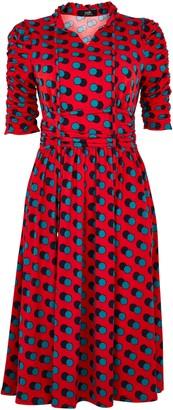 Wallis **Jolie Moi Red Polka Dot Print Tie Neck Dress