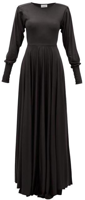 Lemaire Pleated-sleeve Bias-cut Modal-jersey Maxi Dress - Black