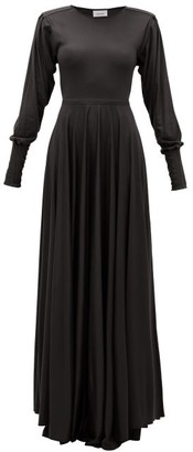 Lemaire Pleated-sleeve Bias-cut Modal-jersey Maxi Dress - Black