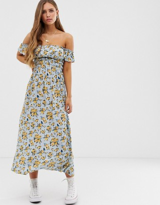 Asos DESIGN off shoulder crinkle maxi dress in ditsy floral print