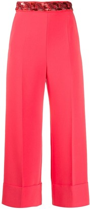 Elisabetta Franchi Sequin Embroidered Pleated Detail Trousers