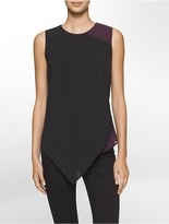 Calvin Klein Chiffon Asymmetrical Sleeveless Top