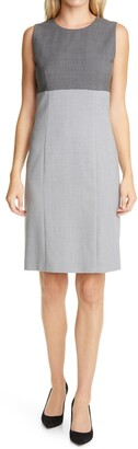 HUGO BOSS Dibena Colorblock Stretch Wool Sheath Dress