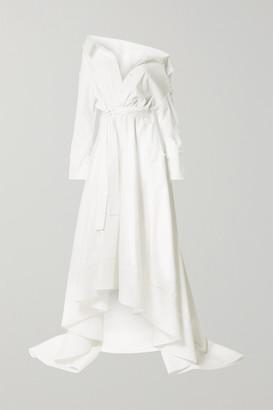 DANIELLE FRANKEL Lou Off-the-shoulder Cotton-blend Poplin Gown - Ivory