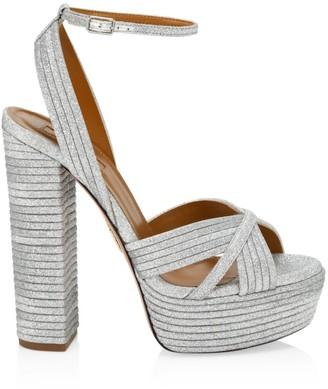 Aquazzura Sundance Platform Glitter Sandals