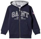 Gant Navy Branded Zip Thru Hoody