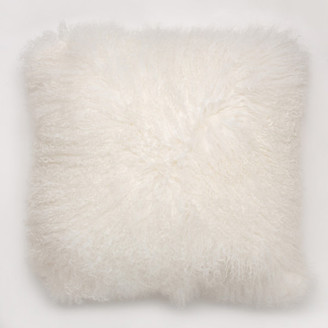 """Furug 20"""" Double Sided Mongolian Curly Lamb Pillow, Natural White"""