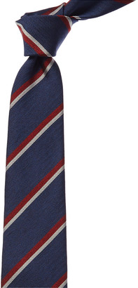 Kiton Blue & Red Stripe Silk Tie