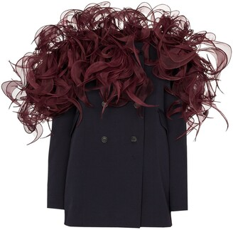 Y/Project 3D-frill wool-blend blazer dress