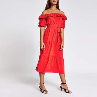 River Island Womens Red short sleeve bardot frill midi dress