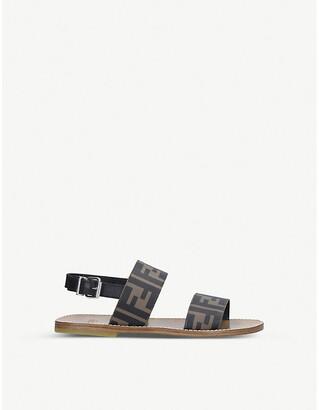 Fendi FF logo-print leather sandals 7-10 years
