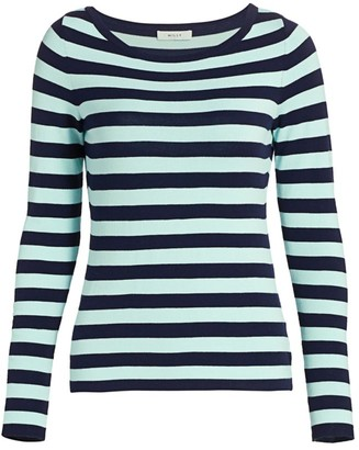 Milly Striped Long-Sleeve Boatneck Top