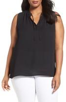 Sejour Plus Size Women's Tie Neck Shell