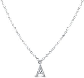Ron Hami 14K White Gold Diamond Initial Pendant Necklace - 0.03-0.06 ctw