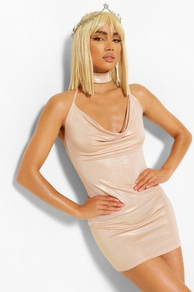 boohoo Halloween Metailic Cowl Choker Mini Dress