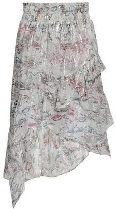 IRO Asymmetric Ruffled Snake-print Fil Coupe Silk-blend Skirt