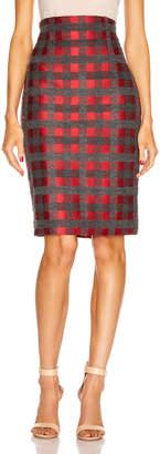 Silvia Tcherassi Delaney Skirt in Red & Grey Check | FWRD