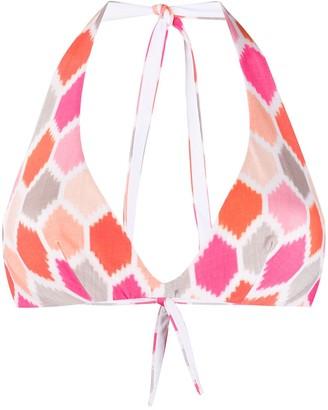 Fisico V-neck geometric print bikini top