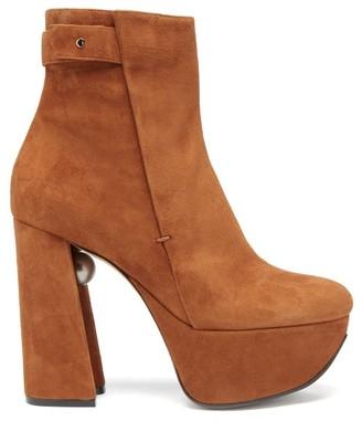 Nicholas Kirkwood Miri Faux Pearl-embellished Suede Platform Boots - Tan