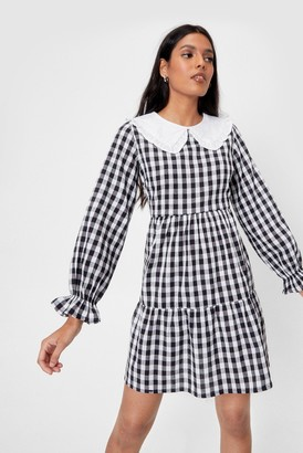 Nasty Gal Womens Gingham a Hint Collar Mini Dress - White
