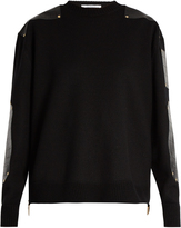 Givenchy Crocodile-effect leather-panel wool sweater