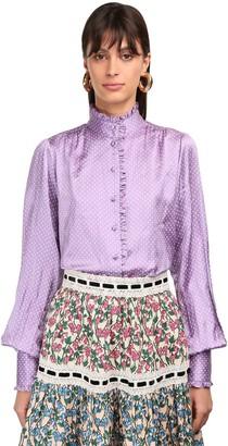Marc Jacobs Mini Dots Ruffled Silk Satin Shirt