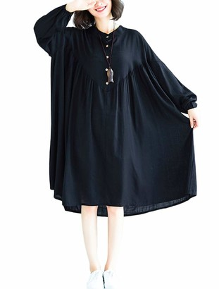 FTCayanz Women's Loose Linen Dress Long Sleeve Midi Plus Size Dress Long Blouse Black Large
