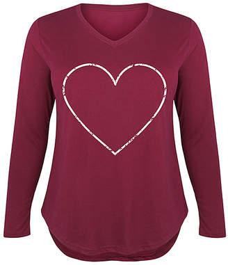 Instant Message Plus Women's Tee Shirts WINE - Wine Heart Long-Sleeve Tee - Plus