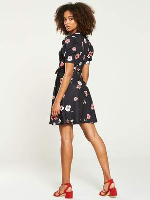Very Jersey Wrap Tea Dress - Floral Print