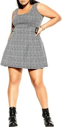 City Chic Plaid Flared Dress
