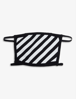 Off-White Off White Ladies Black and White Striped Cotton Face Covering Mask