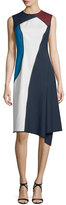 Escada Sleeveless Jewel-Neck Colorblock Dress, Midnight Blue