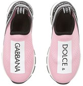 Dolce & Gabbana Jersey Slip-On Sneaker (Toddler/Little Kid) (Rose/White) Girl's Shoes