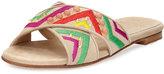 Stuart Weitzman Buttoncandy Embroidered Suede Sandal, Light Beige