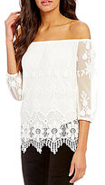Soulmates Off-The-Shoulder 3/4-Sleeve Scalloped-Hem Lace Top