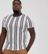 Asos Design DESIGN Plus vertical stripe t-shirt in burgundy and white