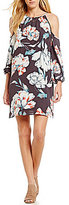 1 STATE Floral Cold Shoulder Sheath Dress